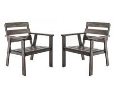 Ambiente Casa salotto in rattan sedia poltrona da giardino in legno massello HANKO, taupe grigio, set di 2 pezzi