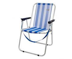 Aktive 53951 - Sedia Pieghevole Fissa Alluminio Beach 47x54x75 cm -Blu