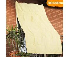 BAKAJI Tenda da Sole Telo Parasole in HDPE Resistente Protezione UV 90% per Balcone e Veranda con Anelli di Aggancio Beige (200 x 295 cm)