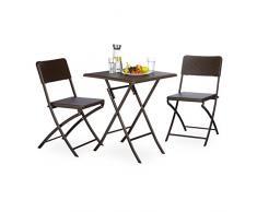 Relaxdays Set di mobili da Giardino Bastian, 3 Pezzi, Gruppo di sedie Pieghevole, Quadrata Tavolo Pieghevole e 2 X SEDIE da Giardino, Marrone, 61.5 x 61.5 x 74 cm, 10020053 _ 93