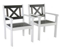 Ambiente Casa sedia del rattan mobili da giardino in legno massiccio Evje, Bianco / Talpa Grigio, set di 2 pezzi