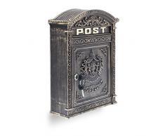 Relaxdays Cassetta Postale per Montaggio a Parete, Stile Vintage/Antico, con Formato A4, HBT: 44.5 X 31 X 9.5 cm