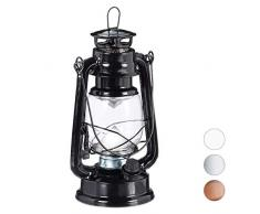 Relaxdays Lanterna LED, Lampada Decorativa retrò per Finestre o da Giardino, a Batteria, Nera
