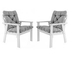 Ambiente Casa salotto in rattan sedia poltrona da giardino in legno massiccio incl. Cuscini HANKO, bianco, set di 2 pezzi
