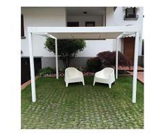 QEEQ.IT Beatrice Gazebo 4x3-struttura Bianca-Telo Grigio Pergola in Alluminio