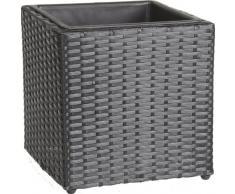 GARTENFREUDE, Portavaso quadrato in polyrattan, resistente alle intemperie, con inserto in plastica, 28 x 28 x 28 cm, colore: Nero