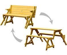 Dobar Praktische Garten Sitzbank 2 in 1 Kombination aus Tisch und Bank FSC-Holz, Sitzgarnitur Panca, Marrone, 138 x 144 x 77 cm