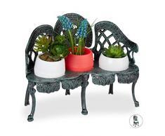 Relaxdays Mini Supporto per Fiori in Ghisa, Sedia per 3 Vasi, Vintage, Decorativo, per Giardino e Balcone, Verde Scuro, Halter