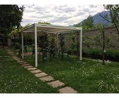 QEEQ.IT Bianca Gazebo 4x3-struttura Telo Grigio Pergola in Alluminio