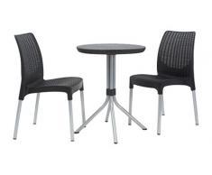 Keter Jersey - Set di mobili da Giardino/Esterni Composto da Tavolo e 4 sedie, Motivo Vimini, Colore Nero