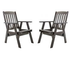 Ambientehome - Sedia da giardino in legno massiccio, con schienale alto, regolabile, modello VARBERG, set da 2 pz, colore: grigio malva