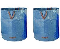 Fundwerk Garten-Abfallsack 500 L-2er Set Blau Sacco DellImmondizia Pop-Up da Giardino, Blu, 500 Litri