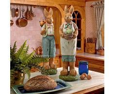 Design Toscano FU93533 Decorazioni Festive Coniglietti Pasquali Elmer ed Edwina, 22.75x20.25x72.5 cm