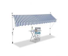Relaxdays Tenda da Sole, Protezione per Il Balcone, Regolabile, Senza Forare, a Manovella, Larga 350 cm, a Righe, Blu/Bianco, 350 x 120 cm