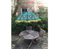 Ombrellone da Giardino in Velluto Verde e Rosso Ricamato a Mano Indiano per Esterni, ombrellone da Patio, 47 cm