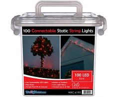 WeRChristmas 10 m gomma luci stringa di LED cavo 100 collegabile Statico Natale con 2 Pin Maschi e Connettore femmina, Rosso
