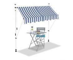 Relaxdays Tenda da Sole, Protezione per Il Balcone, Regolabile, Senza Forare, a Manovella, Larga 200 cm, a Righe, Blu/Bianco, 200 x 120 cm