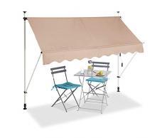 Relaxdays Tenda da Sole, Protezione per Il Balcone, Regolabile, Senza Forare, a Manovella, 250 cm di Larghezza, Beige