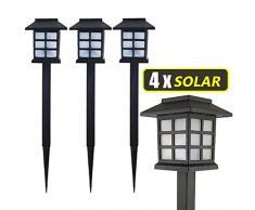 TrAdE shop Traesio 4X LAMPADE A LED DA GIARDINO STILE LANTERNA PALETTI RICARICA SOLARE 38 X 9 X 9CM