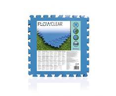 Bestway 58220   Flowclear - Tappeto Sotto Piscina, 50X50 cm, Colore Blu, 9 Fogli Per Confezione
