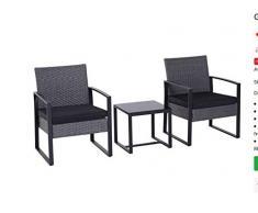 Unbekannt 3 Pezzi Set di Cuscini Lounge in polyrattan, Colore Nero, Set da Pranzo, Gruppo di sedie,