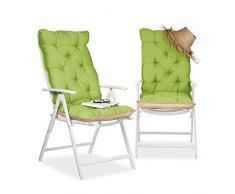 Relaxdays Copri-Sedia Cuscino per Sdraio Imbottitura sedie da Giardino, Schienale, Alto HLP: 115 x 47 x 9 cm Verde/Beige