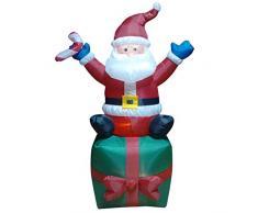 The Natale Officina 81340 1,8 m gonfiabile di Babbo Natale in scatola regalo con LED, Multicolore