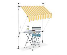 Relaxdays Tenda da Sole, Protezione per Il Balcone, Regolabile, Senza Forare, a Manovella, Larga 150 cm, a Righe Gialle, Bianco, 150 x 120 cm