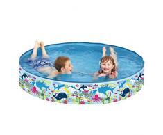 Jilong - Piscina Gonfiabile Happy Sea Pool per Bambini, con pareti fisse, ø 150 x 25 cm, Colore: Blu