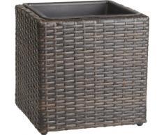 GARTENFREUDE, Portavaso quadrato in polyrattan, resistente alle intemperie, con inserto in plastica, 28 x 28 x 28 cm, colore: Marrone