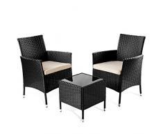 Set mobili da Giardino Tivoli Tavolo terrazza o Balcone + 2 sedie Nero -McHaus