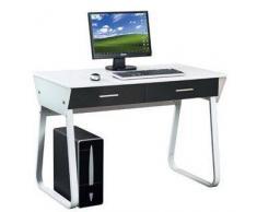 Hjh Scrivania di design per PC modello MIRA, con 2 ampi cassetti, cm 75,5x110x55, bianco