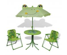 vidaXL Set mobili da giardino per bambini 4 pezzi verde