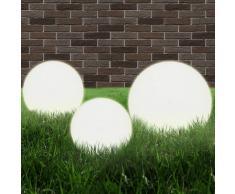 vidaXL Set 3 Lampade da giardino a sfera E27 20/30/40 cm in PMMA