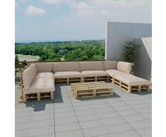 vidaXL Set 21 pz seduta da giardino pallet in legno 13 cuscini bianco sabbia