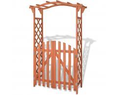 vidaXL Arco da Giardino con Cancello in Legno di Abete 120x60x193 cm