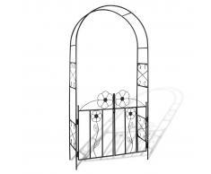 vidaXL Arco con porta da giardino per piante rampicanti