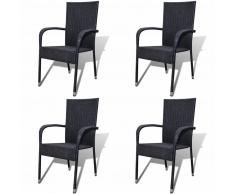 vidaXL Set Sedie da Pranzo per Giardino 4 Pz in Polirattan Nero