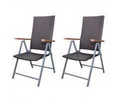 vidaXL Set 2 sedie mobili da giardino in polirattan marrone e alluminio