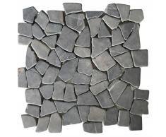 vidaXL Piastrelle per Mosaico 11 Pz Marmo Nero 1 m²