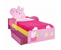Peppa Pig Disney Lettino per Bambini con Cassetti 140x70 cm Rosa WORL213010