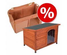 Set Cuccia per cani Woody con tetto piano e Isolamento - L 85 x P 57 x H 58 cm