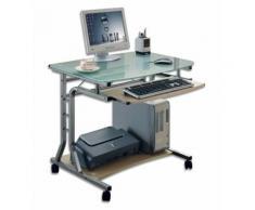Scrivania per PC Compatta in Metallo e Vetro con Ruote Techly ICA-TB 3791A