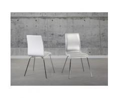 Sedia da sala da pranzo in legno ed ecopelle - Sedia bianca - HARLEM