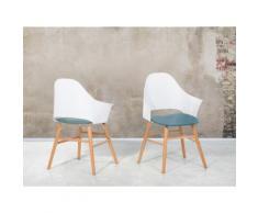 Sedia bianco-azzurra - sedia da sala da pranzo - sedia soggiorno - BOSTON
