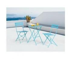 Set da balcone blu - Tavolo tondo con due sedie - FIORI