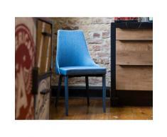 Sedia imbottita in tessutto blu da pranzo - Sedia moderna - CAMINO