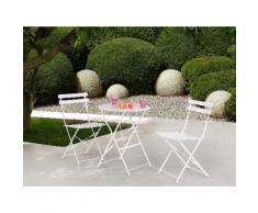 Set da balcone bianco - Tavolo tondo con due sedie - FIORI