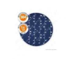 e-LedLight Tenda Luminosa 384 Luci LED Reflex Bianco Freddo con Controller Memory - per Interno e Esterno