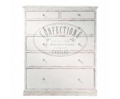 Cassettone stampato bianco in legno L 110 cm Confection